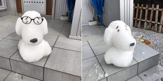 スヌーピーの雪ダルマ
