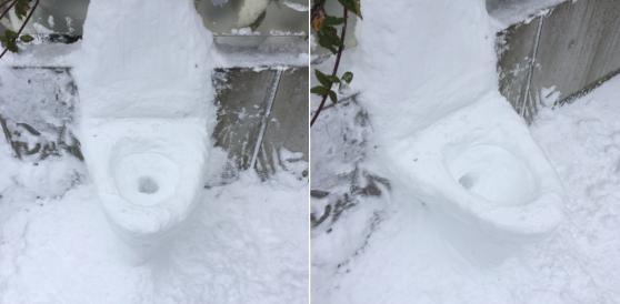 洋式トイレの雪ダルマ