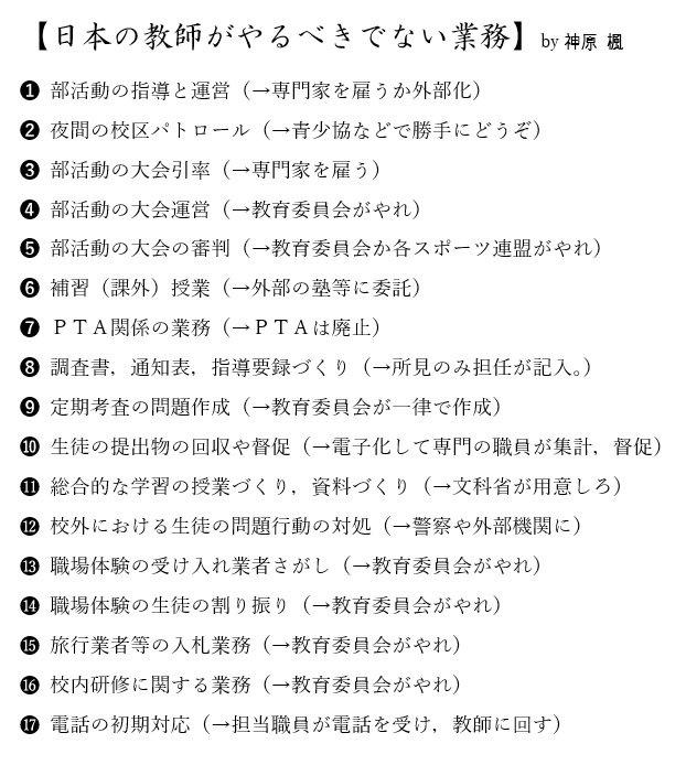 日本の教師がするべきではない仕事