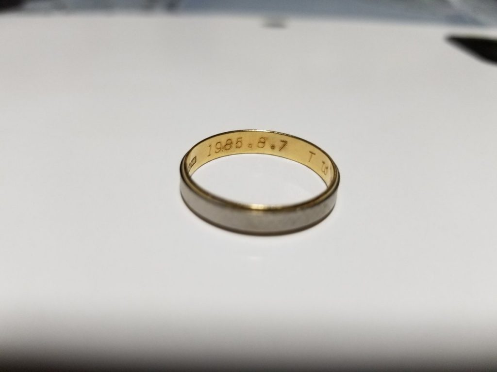 この結婚指輪の落し物の落とし主を探しています