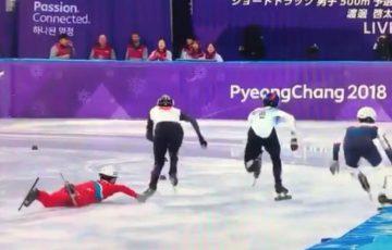 【平昌オリンピック:動画】男子ショートトラック500m予選にて北朝鮮の選手が日本人選手を転倒させるかの行為を・・・