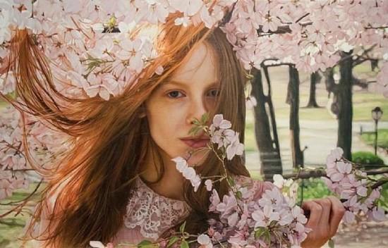 写真に見える油絵の美女