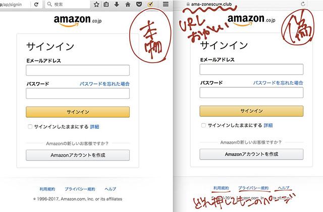 偽のアマゾンサイト