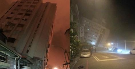 台湾北東部の花蓮県の沿岸を震源地とするマグニチュード6.4の地震が起こり、ホテルやビルなどが倒壊して2名の死者、200以上の負傷者が出た
