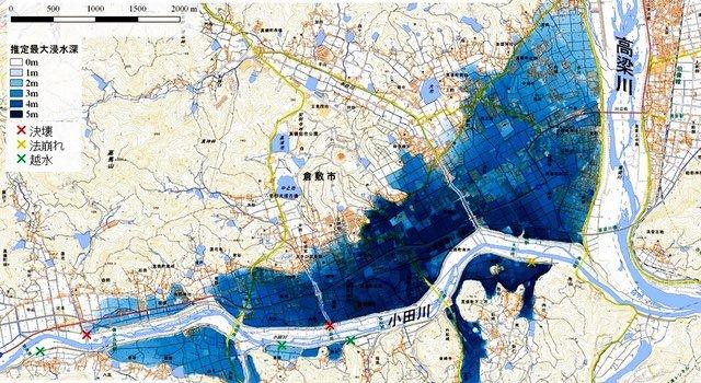 西日本豪雨での水害はハザードマップ通りだった。自分の居住地の災害ハザードマップは把握しとこう!