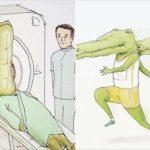 海外でも『Life of Crocodile』と題され評判になっている、イラストレーターのkeigo(k5fuwa)さんの一枚完結のクロコダイルの漫画がシュールで秀逸だと話題です!