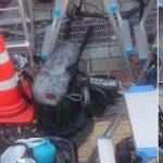 ピエール瀧が保釈された湾岸署前の歩道で集まったマスコミが点字ブロックを封鎖していた