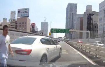 【動画】首都高でマセラティが「あおり運転」からの強制停車で、チンピラが車から出てくる迷惑行為!