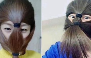これぞ香港魂!香港の覆面(マスク)禁止法に対抗して市民が髪の毛を覆面アレンジ!