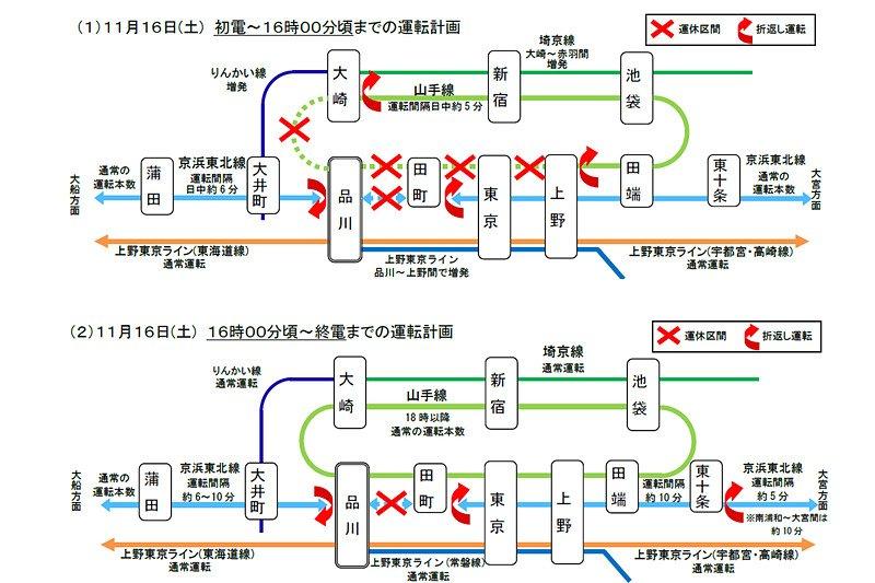 【拡散希望】11月16日(土)「山手線」が止まります!