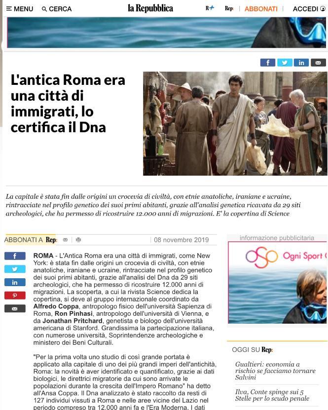 なぜか『テルマエ・ロマエ』の阿部寛の画像がイタリアの大手新聞社の記事「古代ローマは移民都市だったったことがDNA解析で証明」で使われるwww