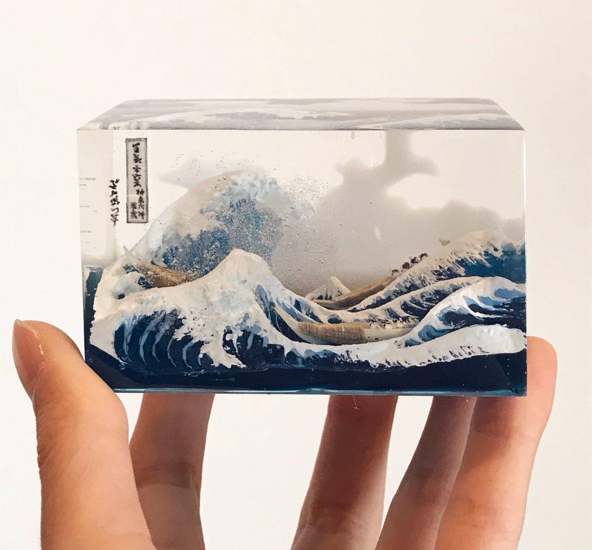 富嶽三十六景 神奈川沖浪裏を立体化してみた。ネットの反応「商品化してほしい」