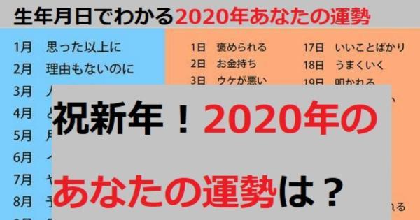2020年版 生年月日でわかるあなたの運勢はなに こぐま速報
