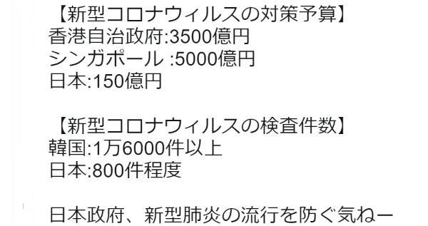 日本の新型コロナウィルスの対策予算が他国と比べて圧倒的に少ないことが判明