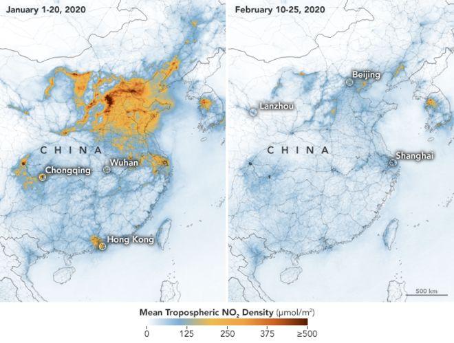 コロナウィルスによる中国の経済活動の低迷で大気汚染が劇的に改善していた!