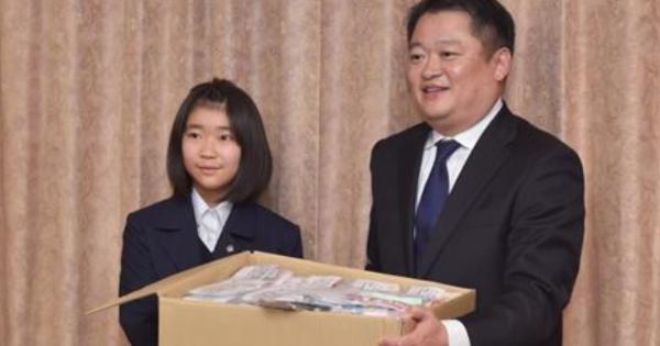 甲府の中一女子「滝本妃(ひめ)」さん山梨県に手作りのマスク612枚を贈る