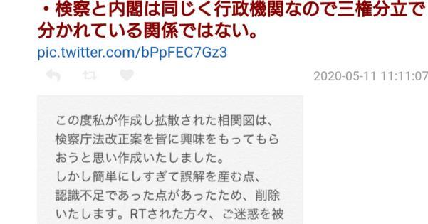 検察庁法改正案相関図を作った「lil金魚」氏、画像をデマと認めTwitterアカウントを削除し逃亡!