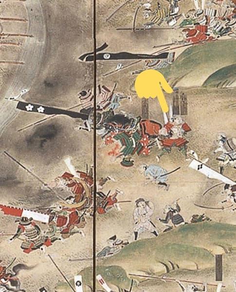 「長篠の戦い」の屏風絵に描かれている屈んでいる男は志村けんさんの祖先の志村又右衛門
