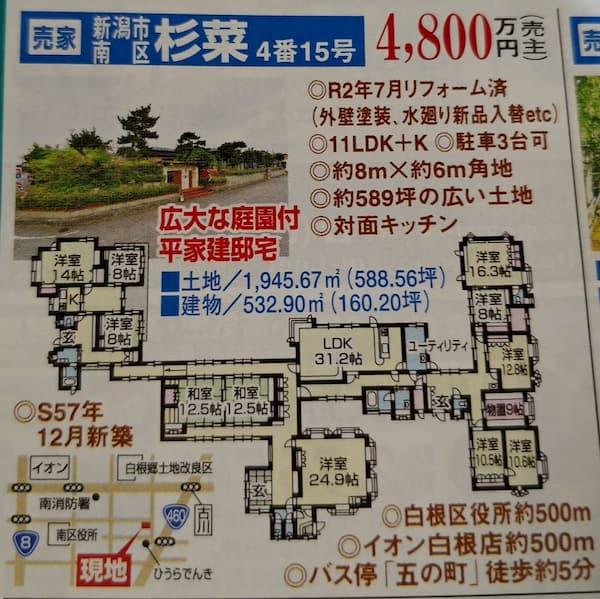 新潟で11LDKの凄い家が売りに出される!