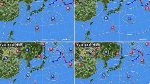 日本の天気図にローソンの「ぽんた(ponta)」がいる