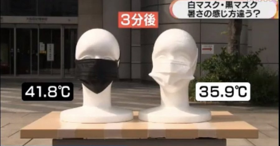 黒マスクと白マスクの暑さの感じ方の違いが判明!5~6度くらい違う!