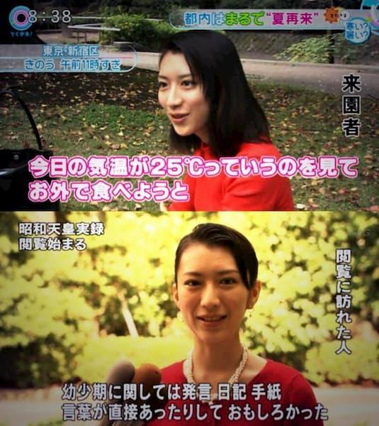 「やらせ」と「仕込み」疑惑のあるテレビの街頭インタビュー画像まとめ:都内の公園への来園者=昭和天皇実録を閲覧しに来た女性