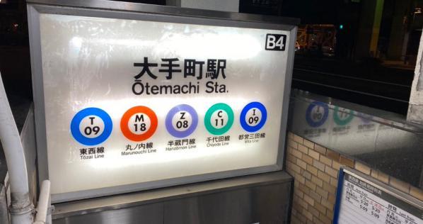 地下鉄の出入り口にある路線マーク。改札までの距離が近い順に左側から並んでるのって知ってた?