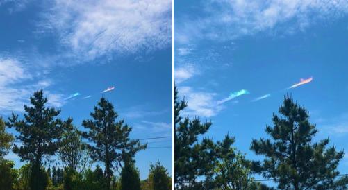 長野県諏訪市での虹色のベールのような彩雲が美しい