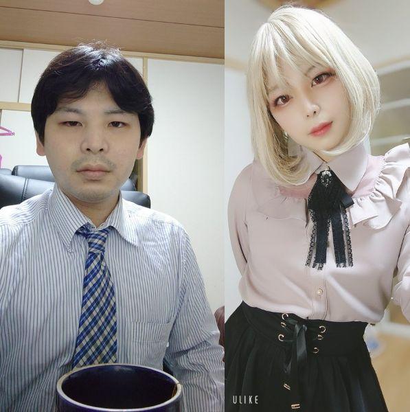 20代最後の俺(2021/02/20)← → 30代になった俺(2021/02/21) 女装ビフォーアフターが凄い!