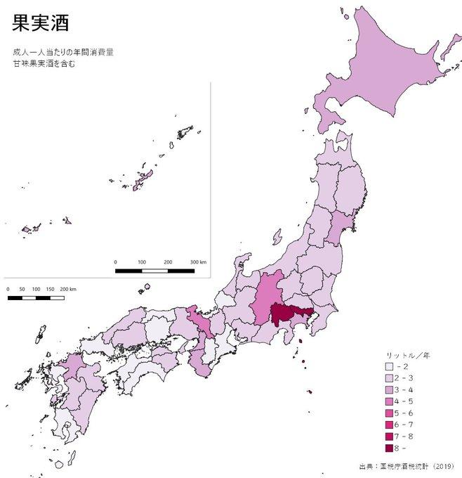 都道府県別のお酒(ビール、清酒、ワイン、ウイスキー、リキュール)の飲酒量データが面白い