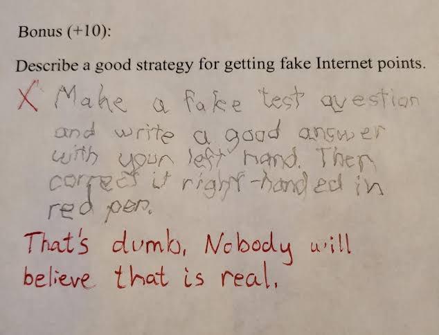 インターネットをよく理解しているテストの答案『SNSで、嘘の情報を使って「いいね」や「RT」を稼ぐ良い方法を1つ挙げましょう』