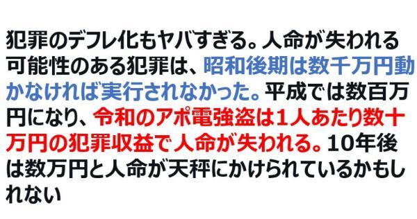 犯罪のデフレ化もヤバい。人名が失われる犯罪は昭和後期は数千万円動かなければ実行されなかったけど・・・