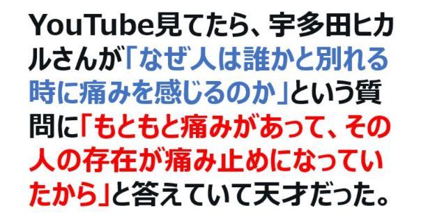 宇多田ヒカルさんの「なぜ人は誰かと別れる時に痛みを感じるのか」という質問に対する答えが秀逸すぎる!