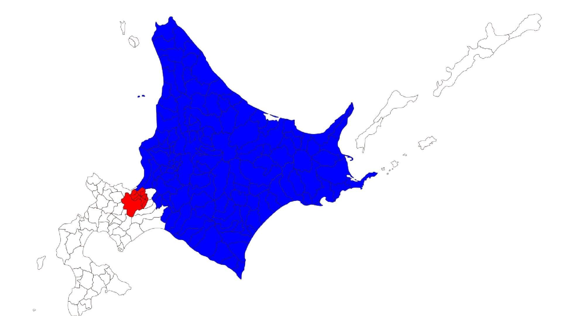 北海道、赤(札幌)と青の部分の人口殆ど同じってなんかのバグでしょ