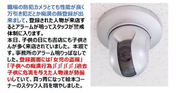 書店の顔登録できる防犯カメラが作動したら「女児の盗撮犯」や「子供への痴漢犯」が勢揃いしてた・・・