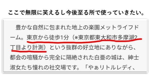 地上の楽園メットライフドーム(東京から2分)の説明書きがツッコミどころ満載www