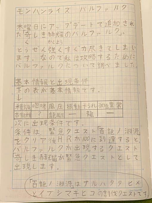 娘がモンハンライズの「バルファルク」について研究ノートを書いたら先生がガチ勢すぎたwww