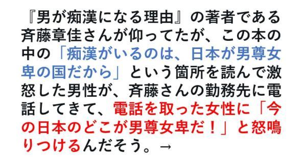 「痴漢がいるのは、日本が男尊女卑の国だから」という箇所を読んで激怒した男性が
