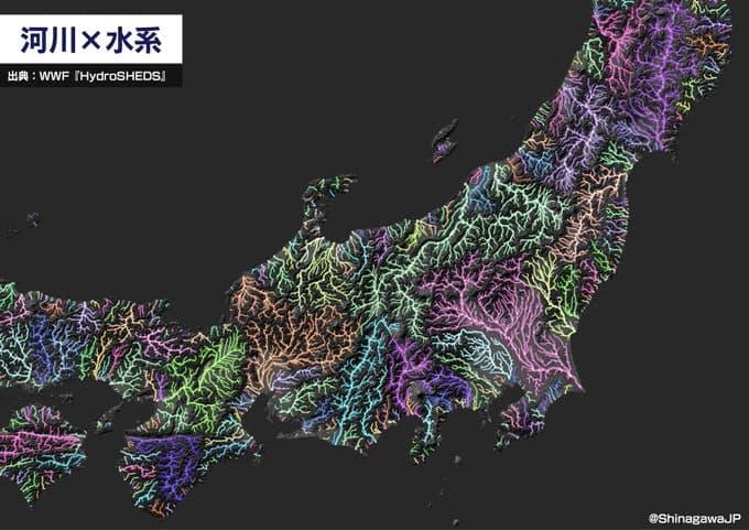 川だけで日本列島を描いてみたら地形の骨格が浮かんできて面白い