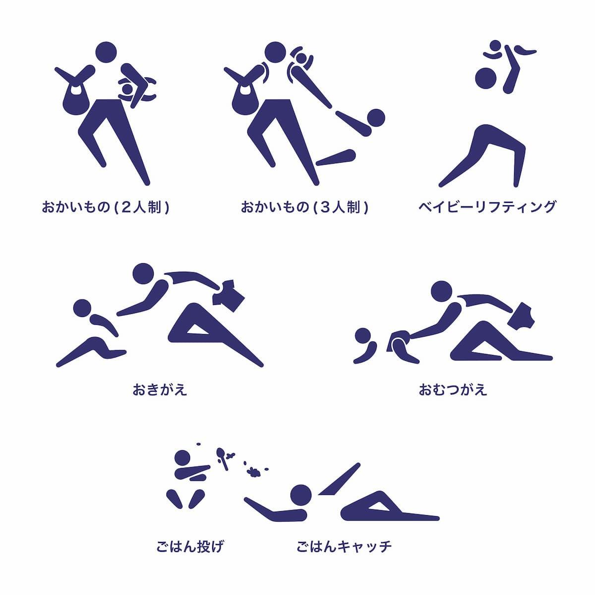 【ピクトグラム】ママリンピック(パパリンピック)2020競技種目一覧