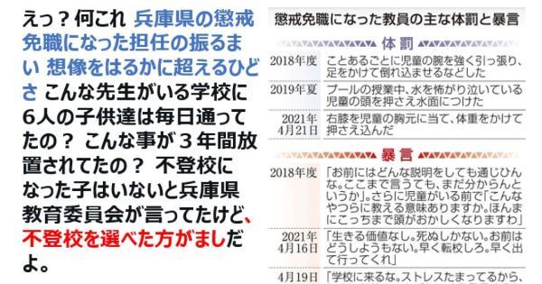 兵庫県の懲戒免職になった担任の振るまいが想像をはるかに超える酷さだった件!